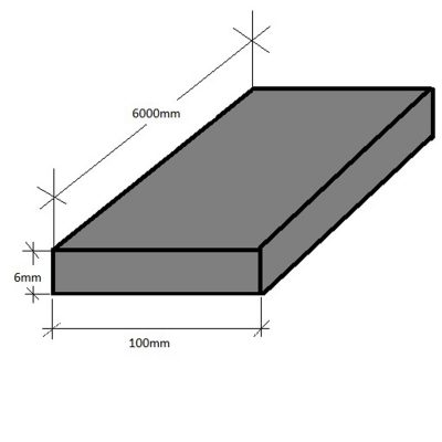 Kickplate 100 x 6 x 6000mm Mild Steel Plain Hot Dip Galvanised
